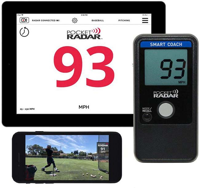 Smart Coach Pocket Baseball Radar Gun with App Allows Remote Display and Speed in Video