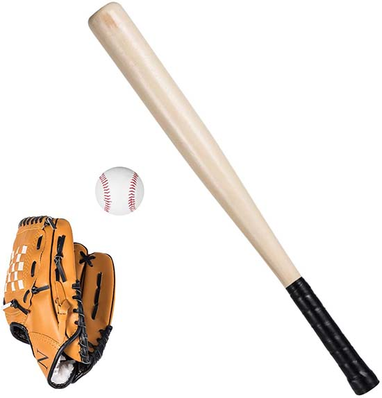 Baseball Toy Set Anti Skid Wooden Baseball Bat Durable Toddler Baseball Glove Lightweight Safety Sports Toy Gift Set With Portable Carrying Bag For Kids