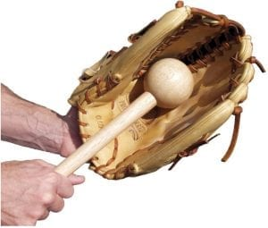 Breaking the glove using a glove mallet