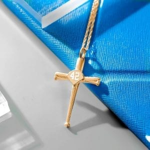 Baseball Bat Cross Necklace Pendant with Number